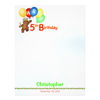 5th Birthday Party Royal Bear Scrapbook  Paper 1