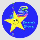 5th Birthday Party Smiley Stars Stickers