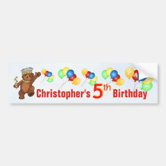 5th Birthday Party Teddy Bear Prince Bumper Sticker