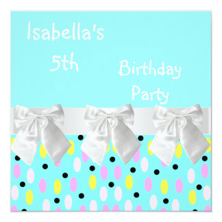 5th Birthday Party Turquoise White Spots & Bows Card