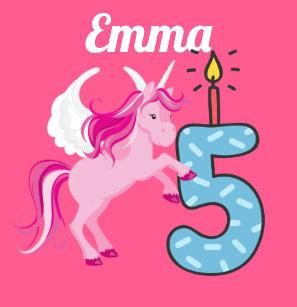 5th Birthday Personalized Name Unicorn Shirt