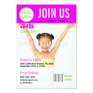 5th birthday pink girls PERSONALIZE Card