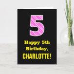 "[ Thumbnail: 5th Birthday: Pink Stripes and Hearts ""5"" + Name Card ]"