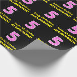 """[ Thumbnail: 5th Birthday: Pink Stripes and Hearts """"5"""" + Name Wrapping Paper ]"""