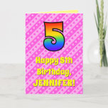 [ Thumbnail: 5th Birthday: Pink Stripes & Hearts, Rainbow # 5 Card ]