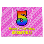 [ Thumbnail: 5th Birthday: Pink Stripes & Hearts, Rainbow # 5 Gift Bag ]