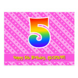 [ Thumbnail: 5th Birthday: Pink Stripes & Hearts, Rainbow 5 Postcard ]