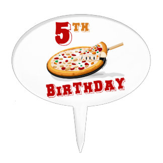 5th Birthday Pizza Party Cake Pick