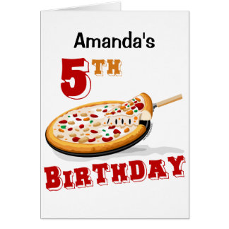 5th Birthday Pizza Party Card