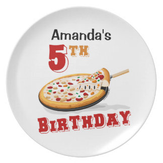 5th Birthday Pizza Party Dinner Plate
