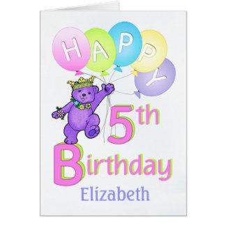5th Birthday Princess Bear, Custom Name Greeting Card