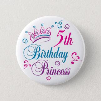 5th Birthday Princess Pinback Button