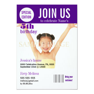 "5th birthday purple girls PERSONALIZE 5"" X 7"" Invitation Card"