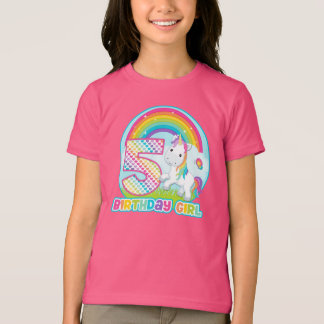 5th Birthday Rainbow Unicorn - Birthday Girl T-Shirt