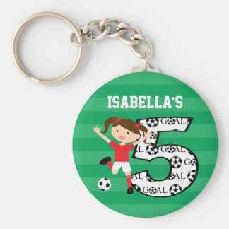 5th Birthday Red and White Soccer Girl 1 Basic Round Button Keychain