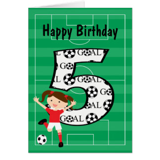 5th Birthday Red and White Soccer Girl 1 Card