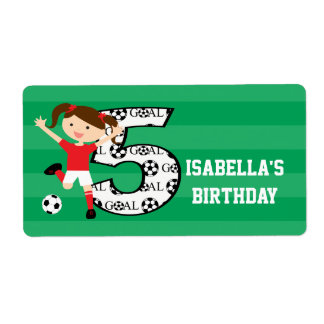 5th Birthday Red and White Soccer Girl 1 Shipping Label