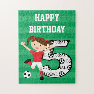 5th Birthday Red and White Soccer Girl 1 Puzzle