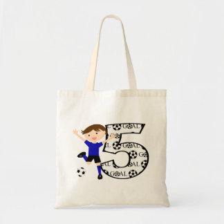 5th Birthday Red and White Soccer Goal Budget Tote Bag