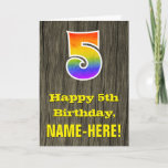 "[ Thumbnail: 5th Birthday: Rustic Faux Wood Look, Rainbow ""5"" Card ]"