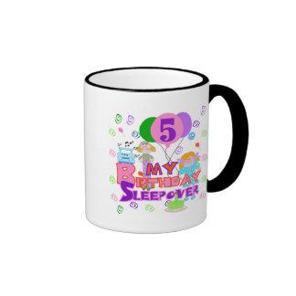 5th Birthday Sleepover Tshirts and Gifts Ringer Coffee Mug