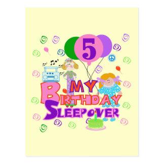 5th Birthday Sleepover Tshirts and Gifts Postcard