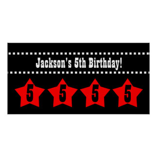 5th Birthday Stars Banner A06 RED and BLACK Poster