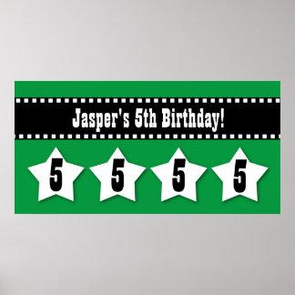 5th Birthday Stars Banner Custom Name A03 GREEN Poster