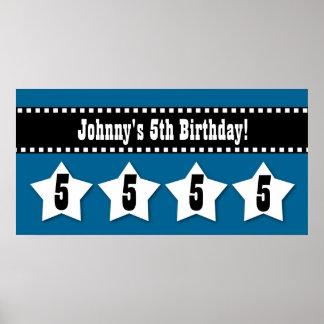 5th Birthday Stars Banner Custom Name A04 BLUE Poster