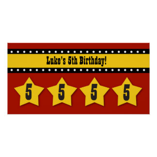 5th Birthday Stars Banner Custom Name B05 RED Poster