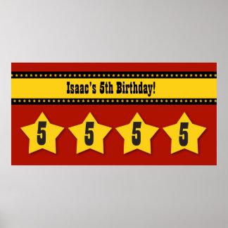 5th Birthday Stars Banner Custom Name B06 RED Poster