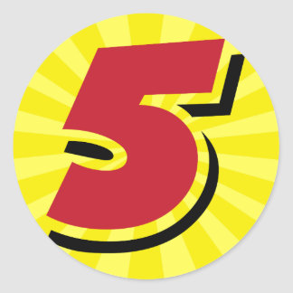 5th birthday super hero party theme and gifts classic round sticker