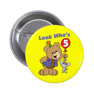 5th Birthday Teddy Bear Pinback Button