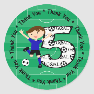 5th Birthday Thank You Blue and Black Soccer Goal Classic Round Sticker