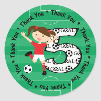 5th Birthday Thank You Red and White Soccer Girl 1 Classic Round Sticker