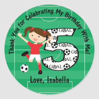 5th Birthday Thank You Red and White Soccer Girl Classic Round Sticker