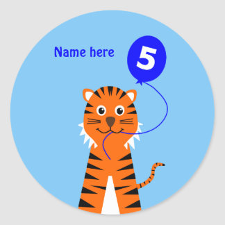 5th birthday tiger add name blue classic round sticker