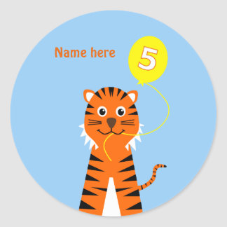 5th birthday tiger add name blue orange classic round sticker