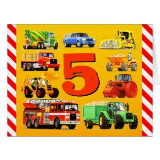5th Birthday Trucks Card
