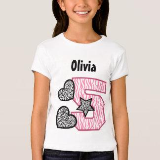 5th Birthday Zebra Stripes Five Year V02B T-Shirt
