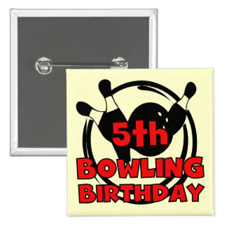 5th Bowling Birthday Tshirts and Gifts 2 Inch Square Button