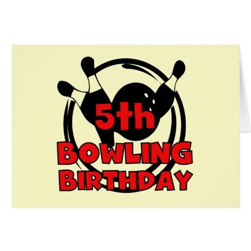 5th Bowling Birthday Tshirts and Gifts Card