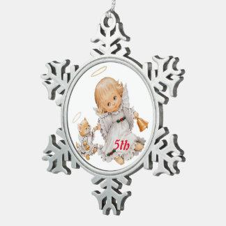 5th Christmas Baby angel Snowflake Pewter Christmas Ornament