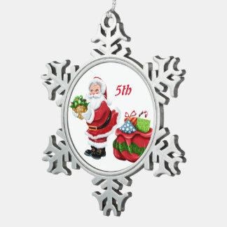 5th Christmas Sweet Santa Snowflake Pewter Christmas Ornament