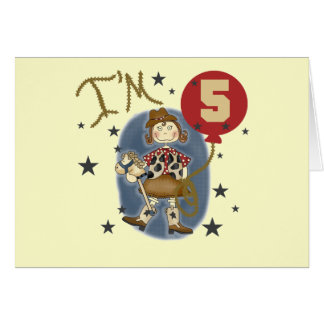 5th Cowgirl Birthday Tshirts and Gifts Card