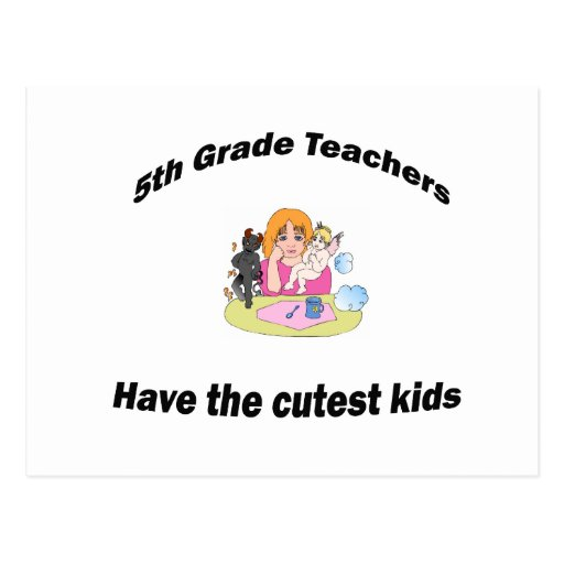 5th  grade and kids postcard