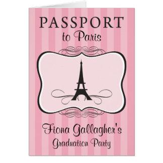 5th Grade Graduation Pary Paris Passport Stationery Note Card