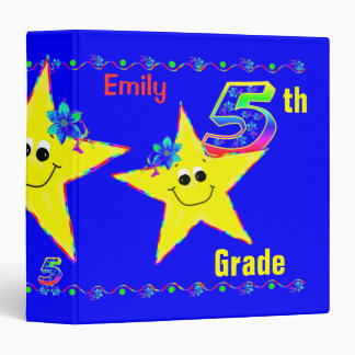 5th Grade School Binders Smiley Stars