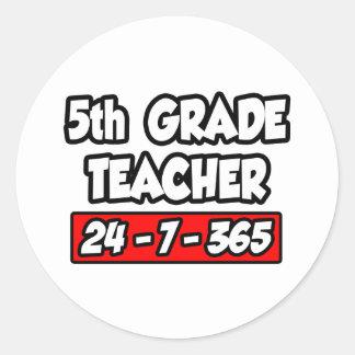 5th Grade Teacher 24-7-365 Round Sticker