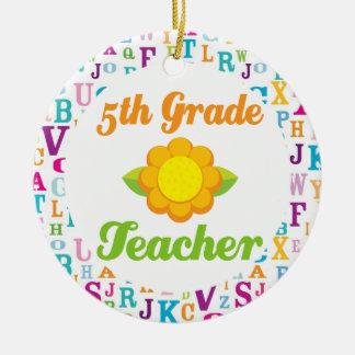 5th Grade Teacher Sunflower School Ornament